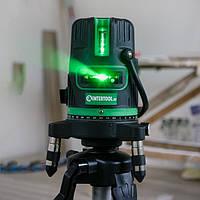Зелёные лучи-50метров!! Лазерный уровень Intertool MT-3008 ♦ 5 линий 6 точек ♦ ГАРАНТИЯ 1 ГОД