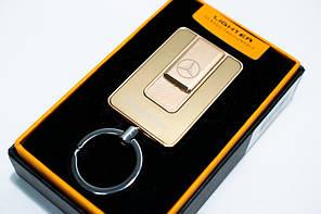 🔝 Аккумуляторная USB электрозажигалка, Mercedes (Art - 811) Золотистая карманная спиральная зажигалка | 🎁%🚚
