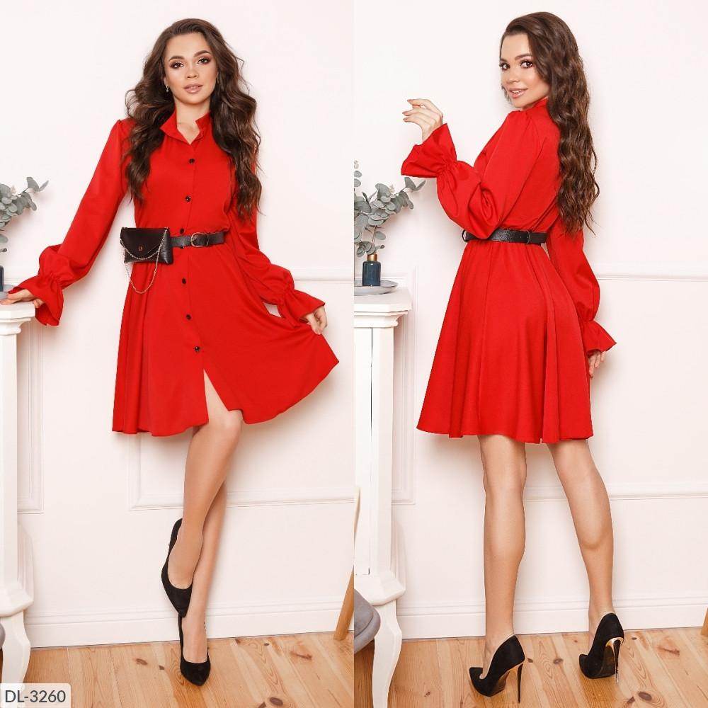 Стильне плаття, пояс з сумочкою в комплекті, червоне, №193, 42-46р.