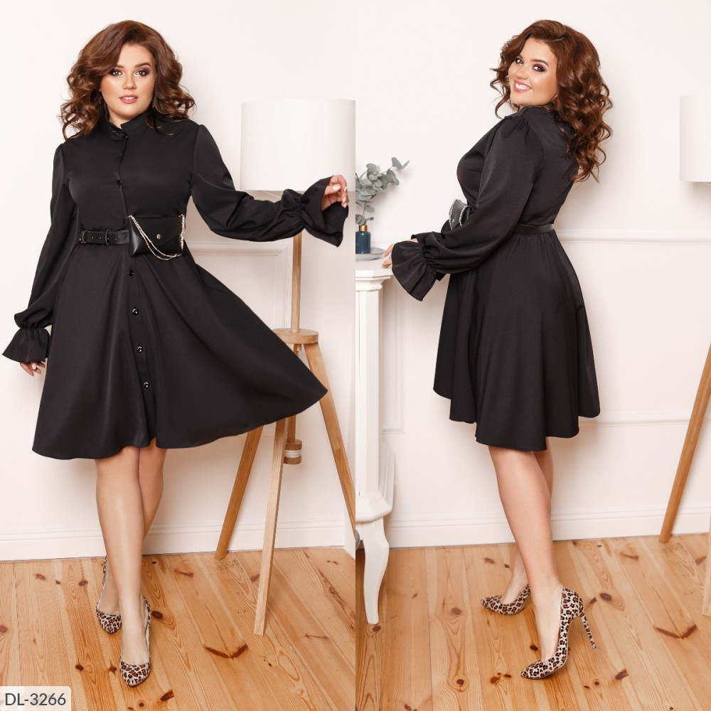 Стильное платье, пояс с сумочкой в комплекте, чёрное, №193, 48-58р.