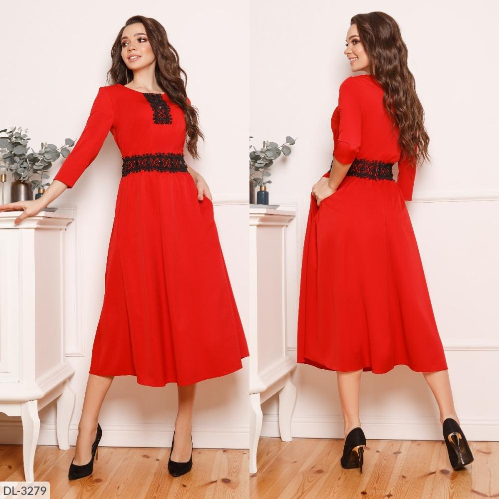Сукня французької довжини з мереживами на поясі і грудей, червоний, №199, 44-46р.