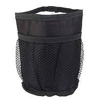 🔝 Подстаканник для детской коляски, термоподстаканник Stroller Bottle Pocket, мягкий, чёрный   🎁%🚚
