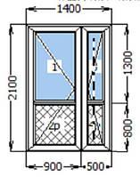 Металлопластиковые входные двери двухстворчатые Rehau ШВ 1400*2100 мм