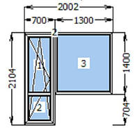 Балконный блок Rehau ШВ 700*2100*1400мм