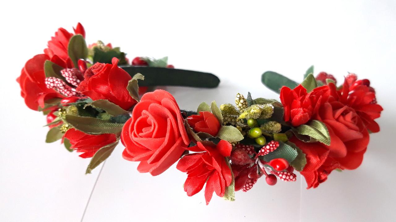 Обруч веночек ручная работа красные розы