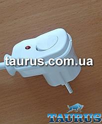 Вилка с кнопкой белая +заземление для подключения мощных электроприборов до 3500W (16А), с индикатором. Польша