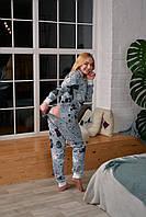 Женская пижама комбинезон с карманом на попе попожама Серые Коты /Производство Украина/ КАЧЕСТВО ТОП!