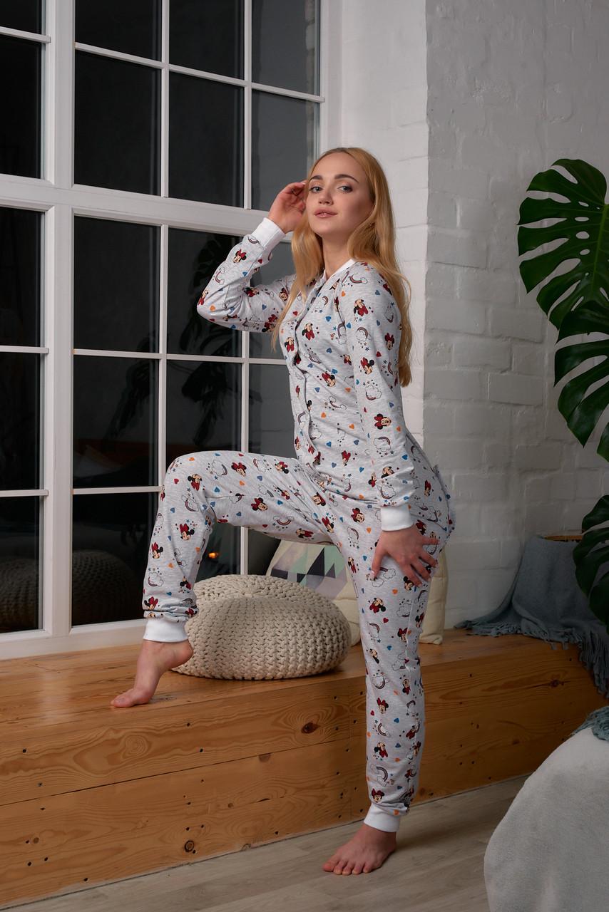 Женская пижама комбинезон с карманом на попе попожама Микки Маус серый /Производство Украина/ КАЧЕСТВО ТОП