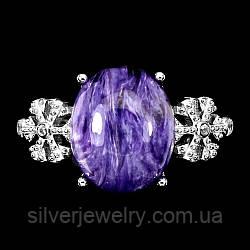 Серебряное кольцо с ЧАРОИТОМ (натуральный!), серебро 925 пр.Размер 17,25