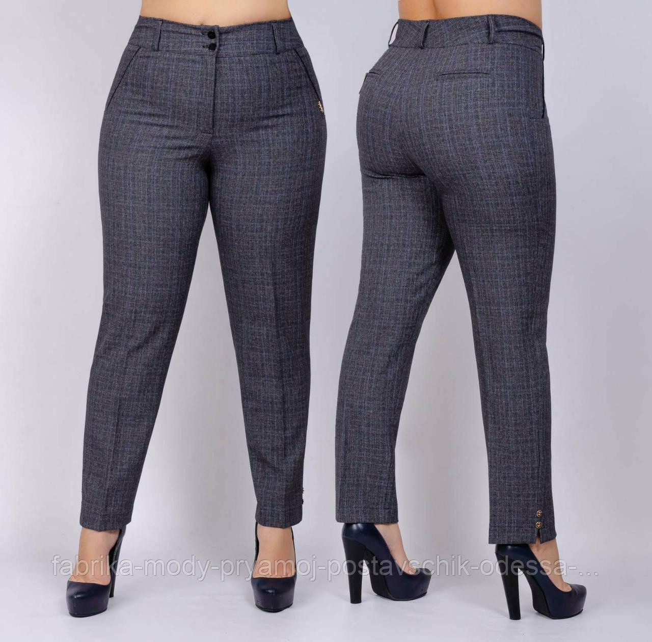 Женские брюки размер 50-58,в серий  клеточка стрейч №140