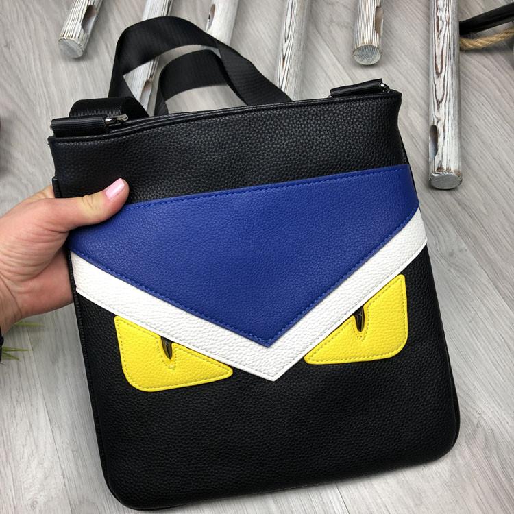 Трендовая планшетка Fendi черная Премиум Качество мужская сумка через плечо Молодежная VIP Фенди реплика