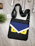 Трендовая планшетка Fendi черная Премиум Качество мужская сумка через плечо Молодежная VIP Фенди реплика, фото 2