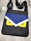 Трендовая планшетка Fendi черная Премиум Качество мужская сумка через плечо Молодежная VIP Фенди реплика, фото 8