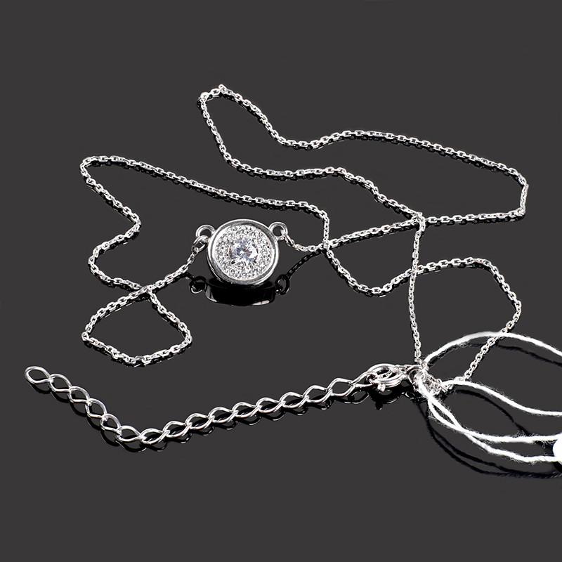 Колье серебряное родированное с фианитами длина 40-45 см