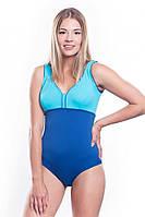 Купальник сдельный для бассейна Shepa 036 с чашками, синий с голубым