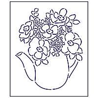 Трафарет Чайник с цветами 1 12*10 см (TR-1)