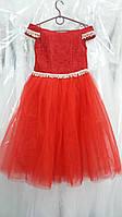 """НОВИНКА !!!! Нарядное красное детское платье """"Любава"""" на 5-8 лет (Арт. ДП-К-02)"""