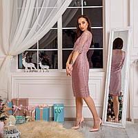 Нарядное свободное платье большого размера с коротким рукавом (L, XL)