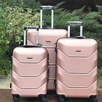 Дорожный чемодан 4х на колесах Fly (комплект) 4 шт Розовый