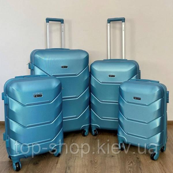 Дорожный чемодан 4х на колесах Fly (комплект) 4 шт Синий
