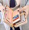 Модний жіночий клатч портмоне з бантиком персиковий, Жіночі гаманці-клатчі, фото 3