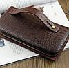 Чоловічий великий гаманець барсетка клатч, Стильний чоловічий клатч гаманець коричневий, Модні клатчі еко шкіра, фото 3
