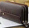 Чоловічий великий гаманець барсетка клатч, Стильний чоловічий клатч гаманець коричневий, Модні клатчі еко шкіра, фото 5