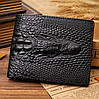 Клатч чоловічий гаманець з крокодилом, Стильний чоловічий клатч портмоне чорний, Модні клатчі еко шкіра, фото 2
