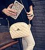 Женская маленькая сумочка клатч стеганая, Женские мини сумки, Мини-сумочка золотистая на плечо, фото 3