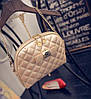 Женская маленькая сумочка клатч стеганая, Женские мини сумки, Мини-сумочка золотистая на плечо, фото 5