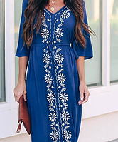 Эффектное из натурального хлопка летнее женское платье с вышивкой, синего цвета, размер 2XL,3XL