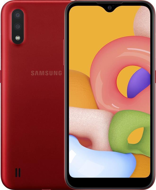 "Смартфон Samsung Galaxy A01 SM-A015 Dual Sim Red (SM-A015FZRDSEK); 5.7"" (1560х720) IPS / Qualcomm Snapdragon 439 / ОЗУ 2 ГБ / 16 ГБ встроенной +"