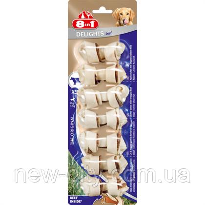 8in1  Delights Beef  Лакомство для собак — кость с говядиной  (7шт) XS/7см