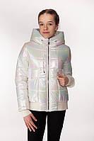 Блестящая куртка хамелеон с бретелями внутри для девочки 38-44 р