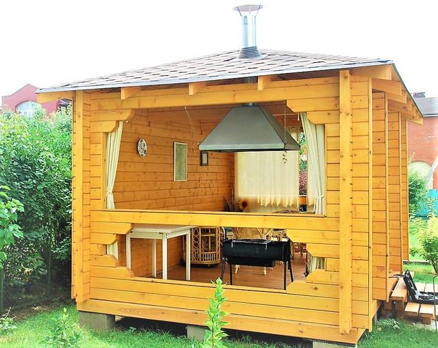 Беседка деревянная из сухого профилированного бруса (Wooden Log Cabin)