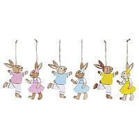 """Набір пасхальних прикрас (2шт) """"Кролики"""" на підвісці 12 см 3 види 781-920/Bonadi"""