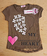 Футболка на девочку 2-3-4-5 лет, интерлок, heart, хаки