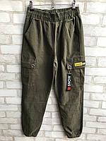 Штаны джинсовые женскиевысокаяпосадка с накладными карманамиразмеры 25-30, цвет хаки