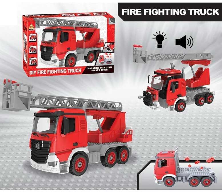 Пожарная машина BDL 609 В1 (24/2) конструктор, свет, звук, в коробке