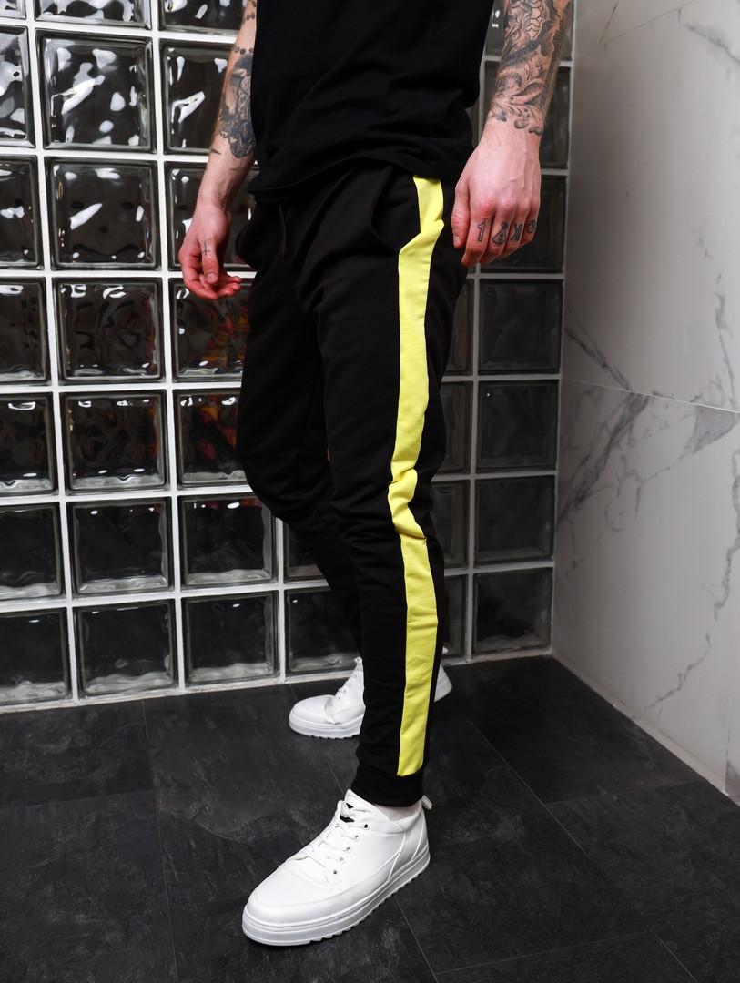 Спортивные штаны с лампасами Асос черные с желтым