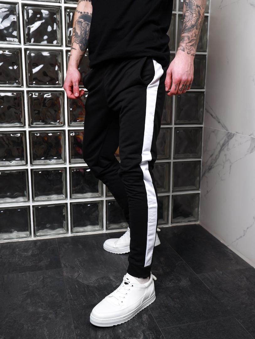 Спортивные штаны с лампасами Асос черные с белым