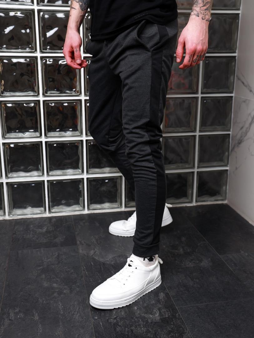 Спортивні штани з лампасами Асос темно сірі з чорним