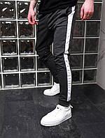 Спортивные штаны с лампасами Асос темно серые с белым