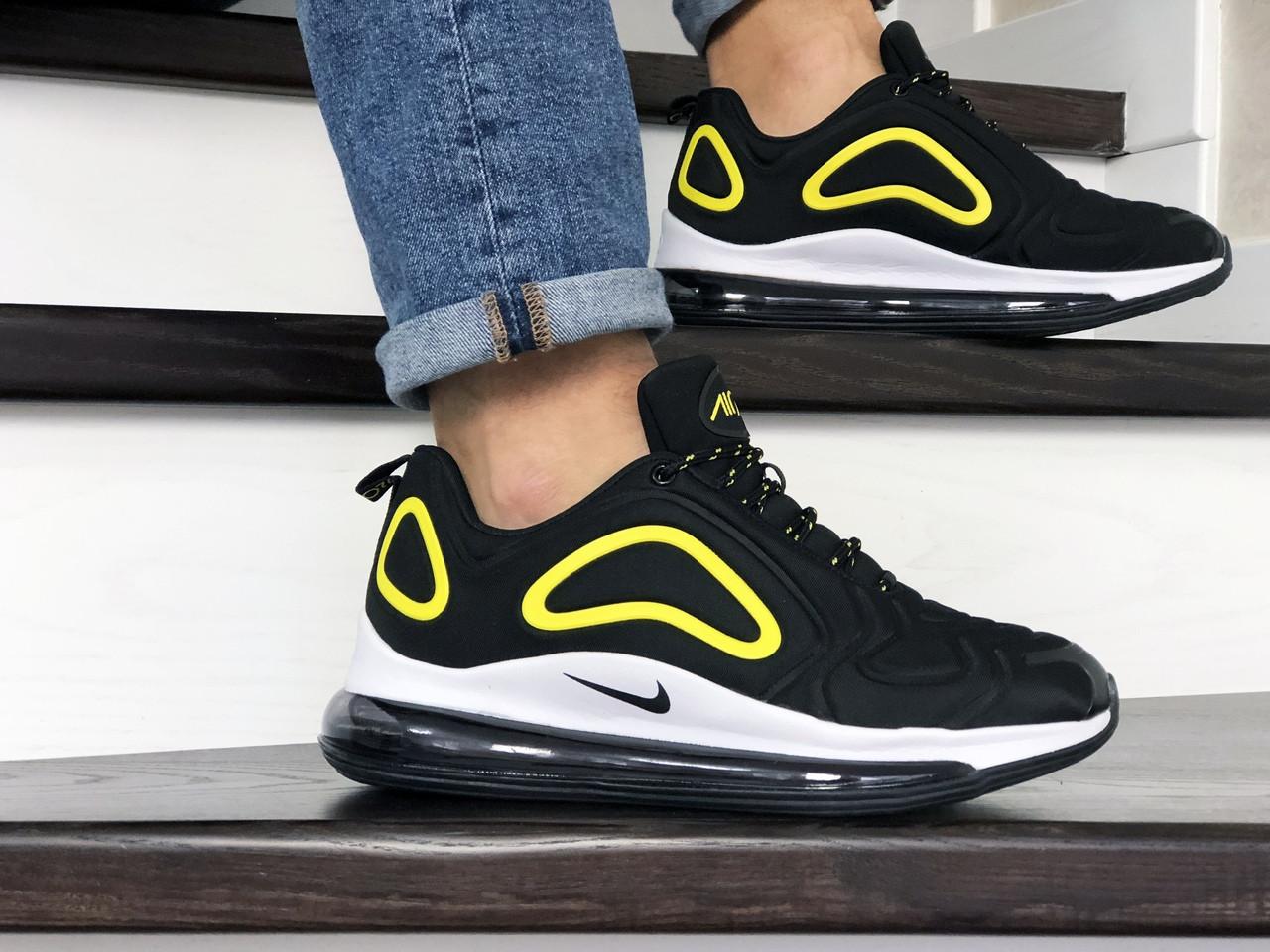 Кроссовки мужские Nike Air Max 720 черно бело/желтые