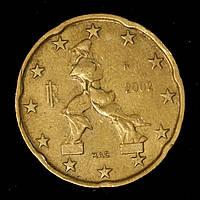 Монета Италии 20 евро центов 2002 г., фото 1