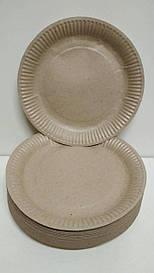 Тарелка бумажная  18см  Крафт  50шт (1 пач)