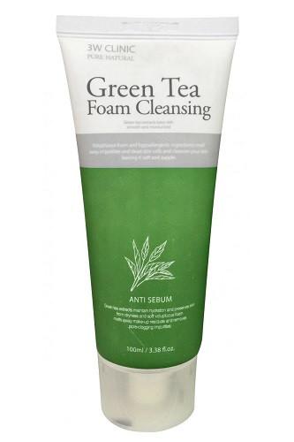 Очищающая пенка с зеленым чаем 3W Clinic Green Tea Foam Cleansing.