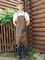 Фартук кожанный на люверсах для повара, мангальщика TEXSTYLE