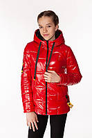 Блестящая дутая куртка с оригинальной фурнитурой для подростка 38-44 р