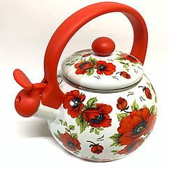 Эмалированный чайник со свистком Hoffner 4931 Red flowers 2,2 литра